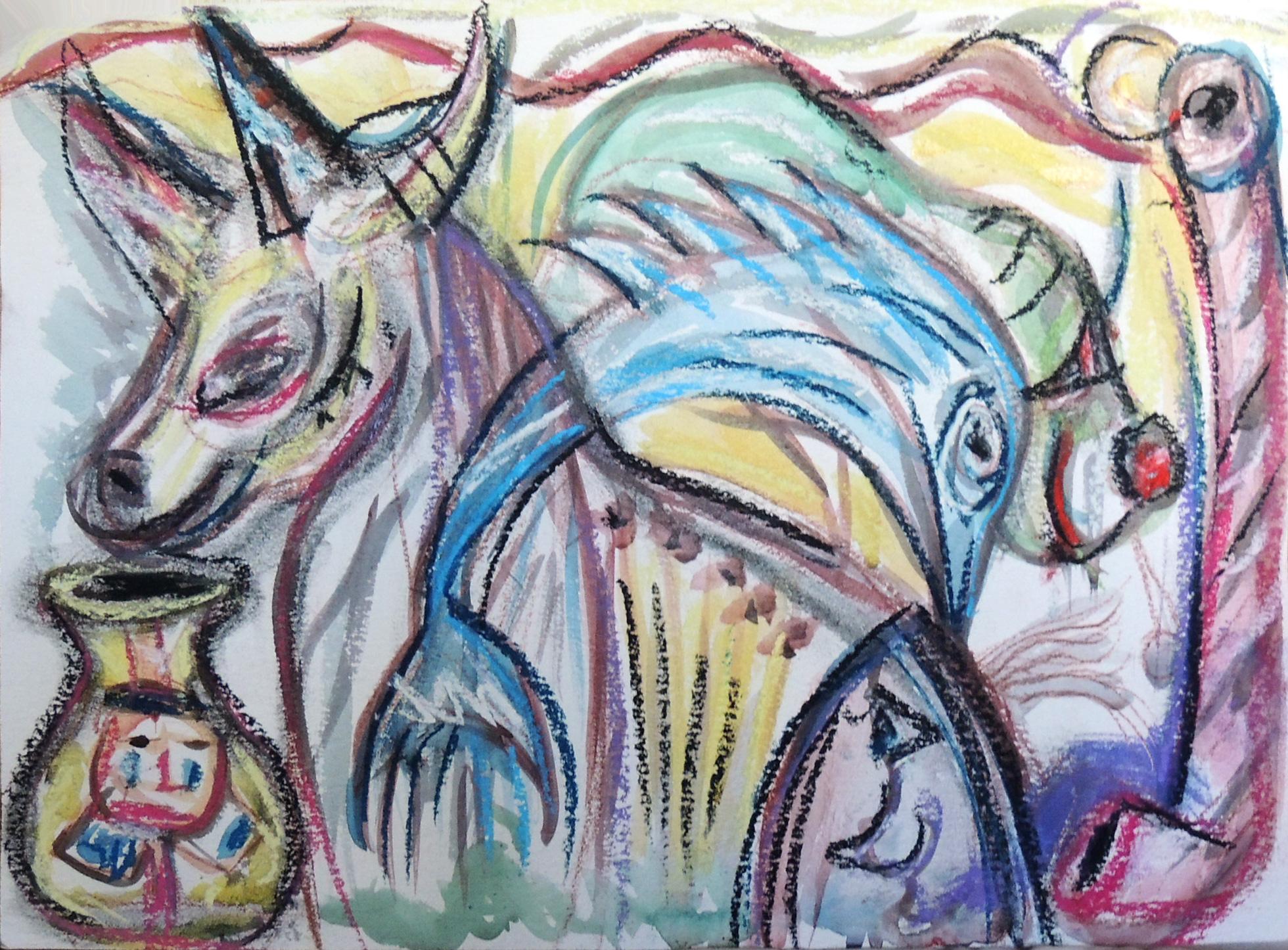 Unicorno con delfino - acquerello con pastello