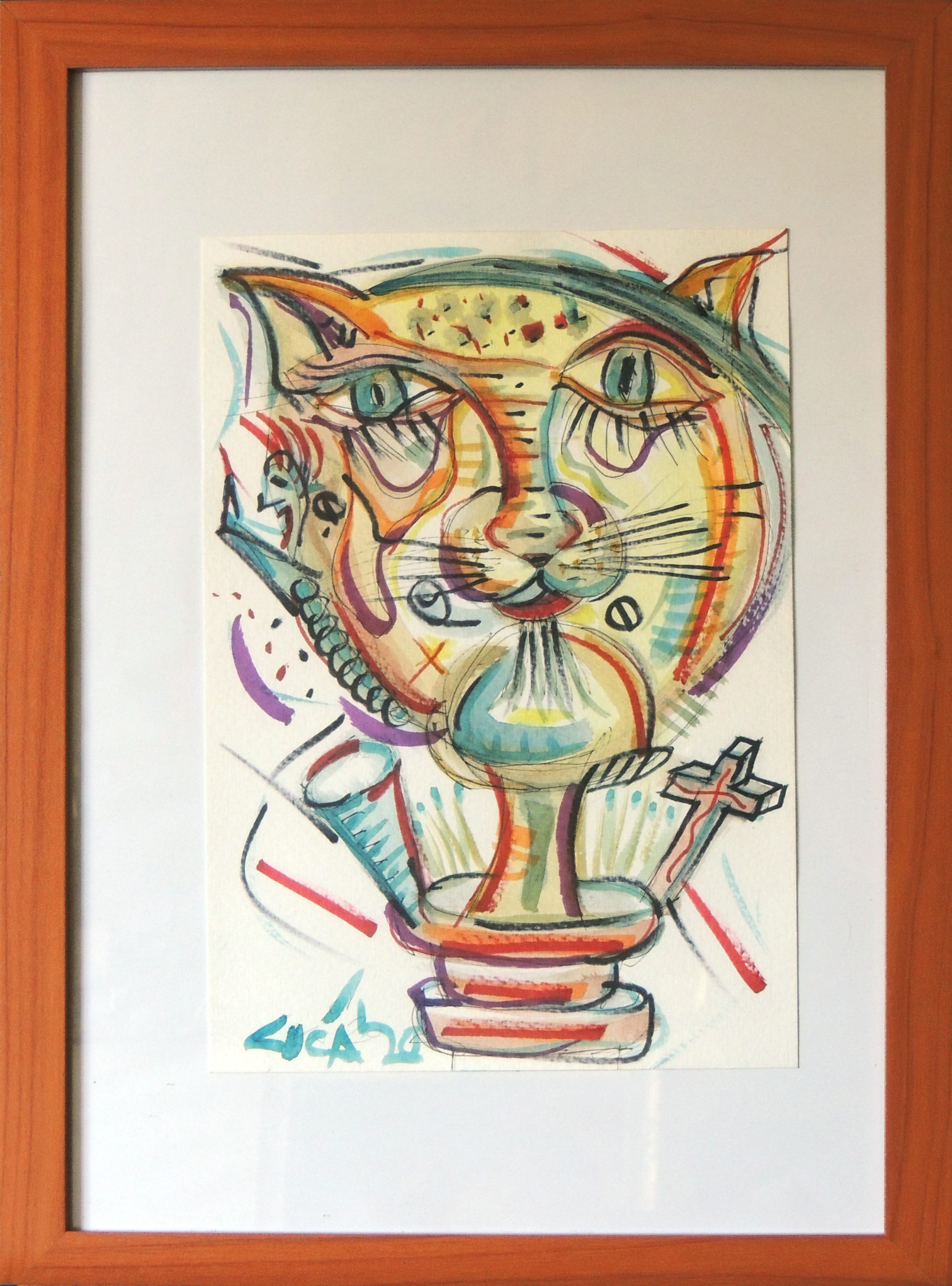 Il felino - acquerello e pennarello
