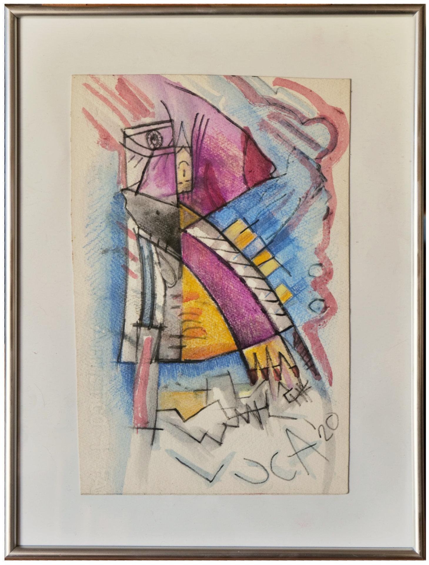 Coniglietto - matite acquerelli su foglio - 25x35