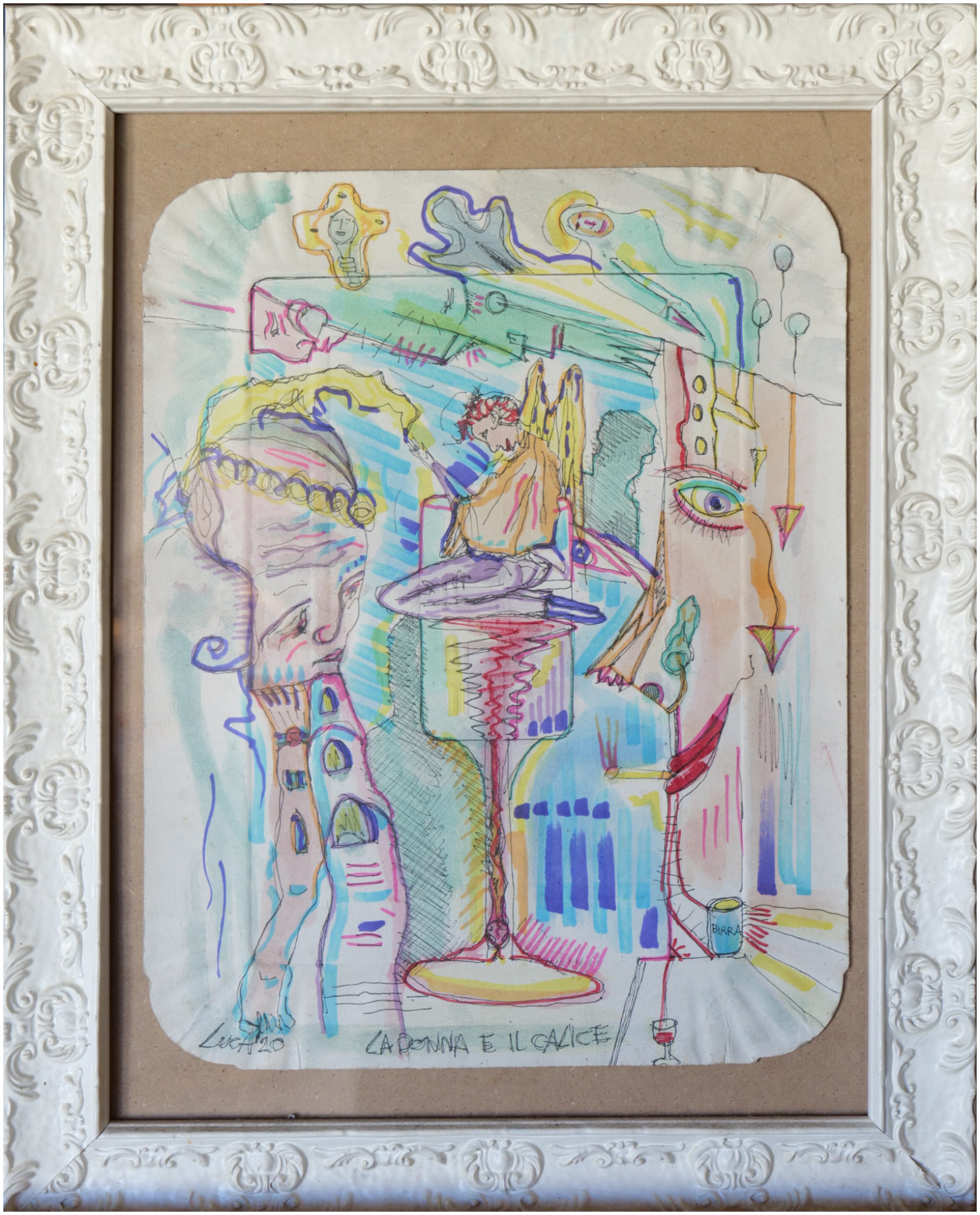 La donna e il calice - acquerello e pennarello su vassoio di cartone - 20x30